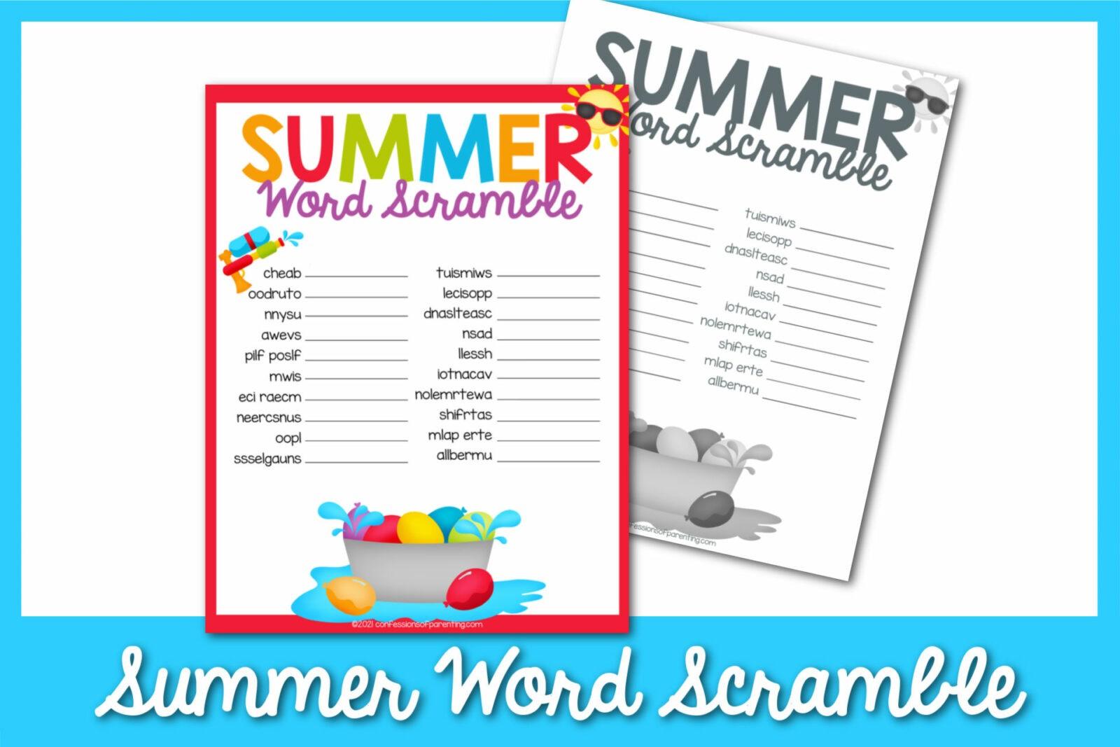 Summer Word Scramble có thể in miễn phí