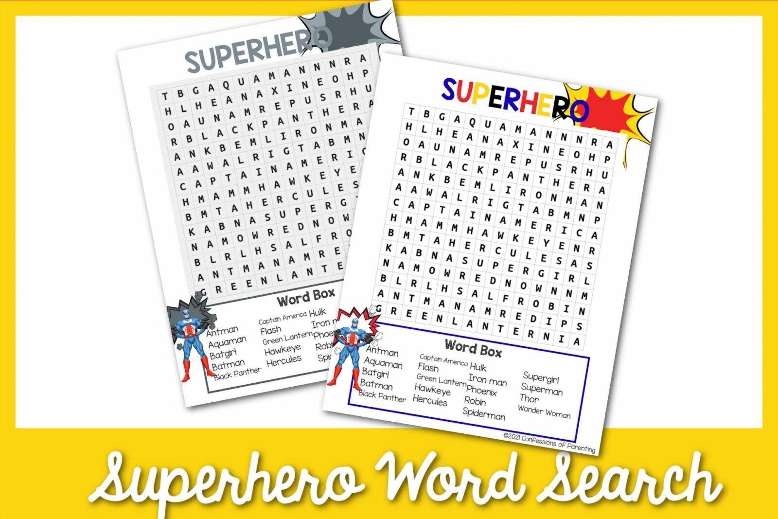 Tìm kiếm từ miễn phí về siêu anh hùng có thể in