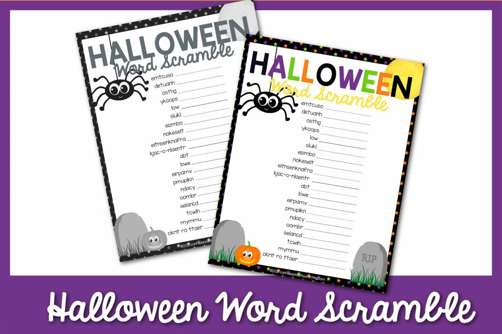 Halloween Word Scramble miễn phí có thể in