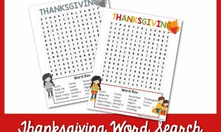 Tìm kiếm từ miễn phí trong Lễ tạ ơn có thể in