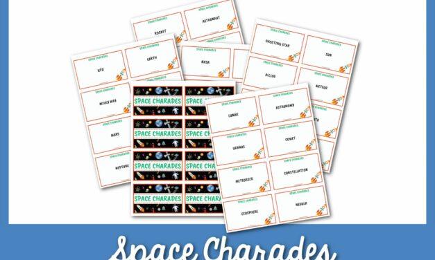 Trò chơi Space Charades Hơn 50 ý tưởng với Thẻ có thể in!
